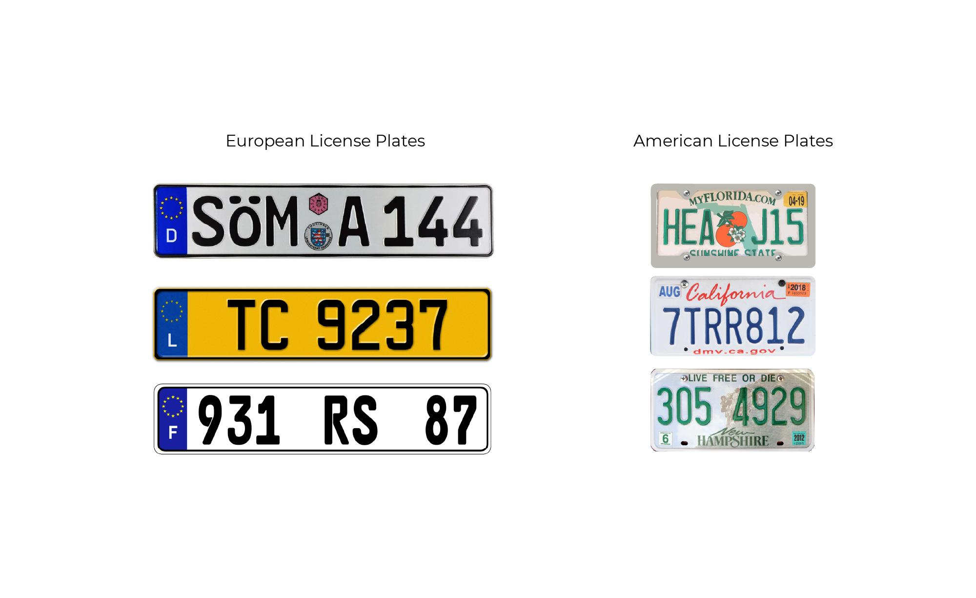 Different types of License plates need different algorithm OCR rulesrules